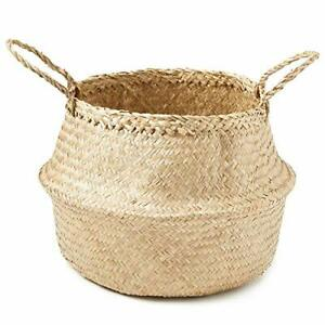 Hand-Woven Palm and Seagrass Belly Baskets for Storage and Organization