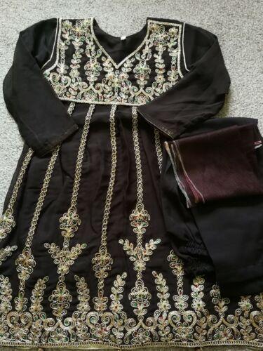 Kids Little Girls Stitched 3 Piece Embroidered Eid Salwar Kameez Suit