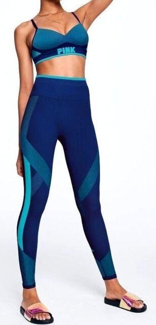 957d2cd717 Victoria s Secret Pink Cool Comfy Tight Leggings   Bra Set Blue Ultra Aqua  L NIP