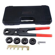 "5 in1 Pex Crimper Kit Copper Ring Crimping Plumbing Tool 3/8"" 1/2"" 5/8"" 3/4"" 1"""