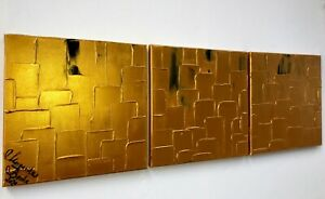Malerei-TRIPTYCH-Leinwand-90-cm-Canvas-PAINTING-abstract-abstrakt-dark-gold-art