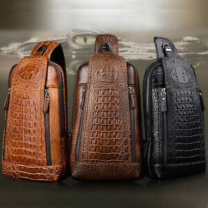 Men-039-s-New-Leather-Crocodile-Pattern-Chest-Bag-Sling-Backpack-Crossbody-Bags
