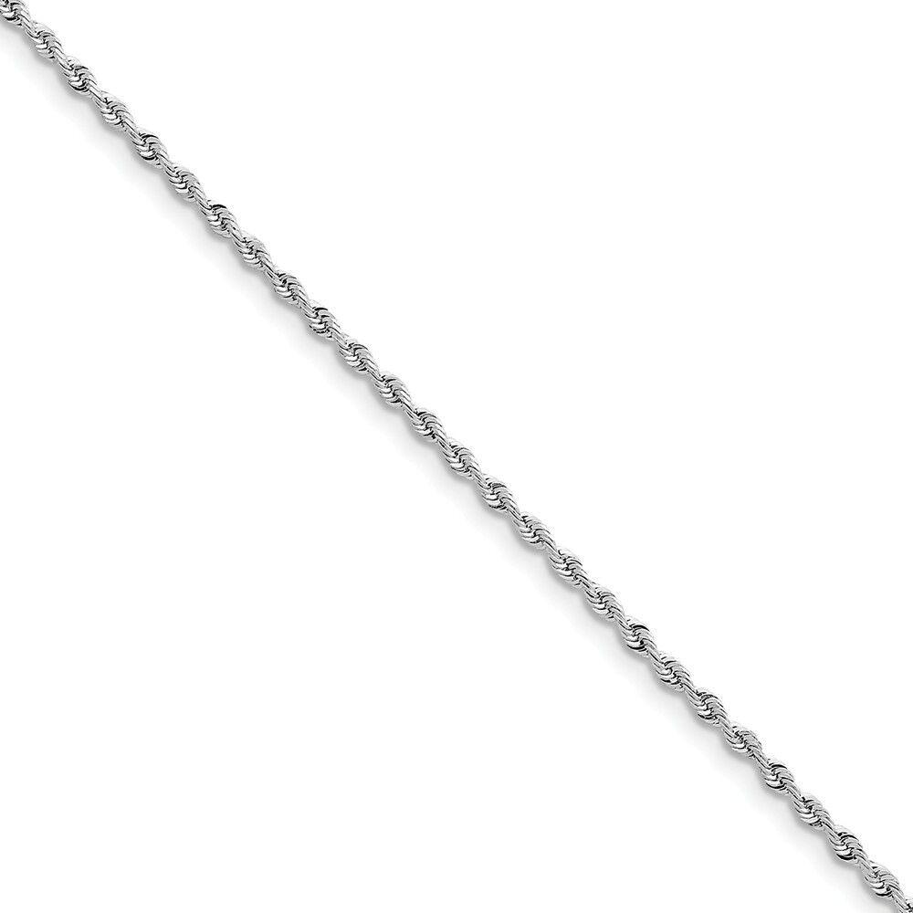 14k White gold 2.25mm Diamond-Cut Quadruple Rope Chain Bracelet 7 Inch