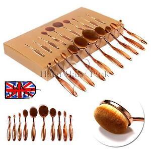 10pcs-Tooth-brush-Oval-Makeup-Brushes-amp-Blusher-Concealer-Foundation-Rose-Gold-AU