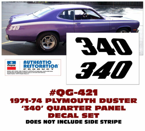 340 QUARTER PANEL DECAL SET GE-QG-421 1971-74 PLYMOUTH DUSTER