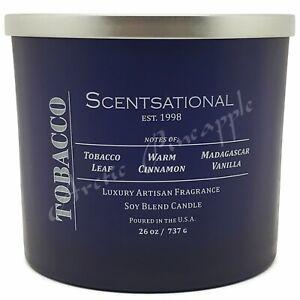 Scentsational-Natural-Soy-Blend-Large-26oz-Blue-Candle-Jar-Metal-Lid-Tobacco
