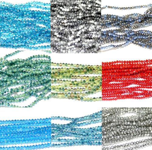 1 Strang Kristallperlen Rondelle Perlen facettiert 2x3 4x6 mm Farbauswahl 3x4