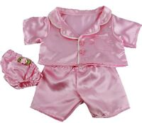 Pink Satin Pyjamas Pjs & Knickers Outfit Teddy Bear Clothes Fits Build A Bear
