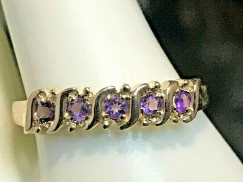 10K or Jaune .40 CT NATURAL AMETHYST Band Ring Taille 6.75 Anneau Boîte