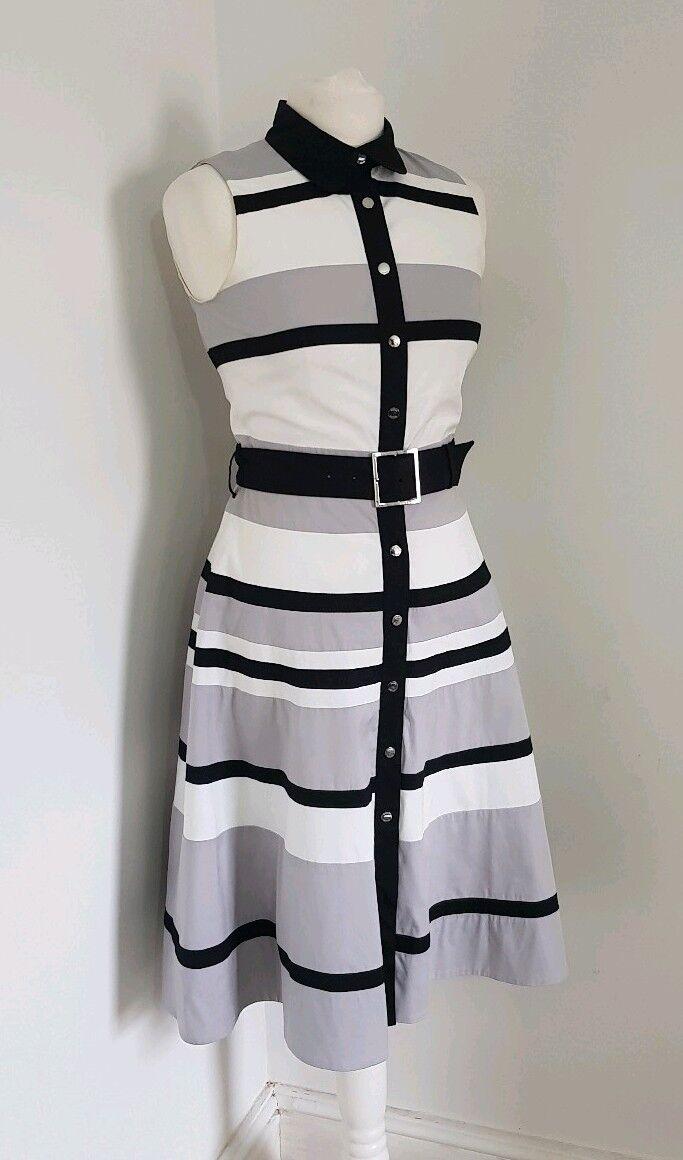 Karen Millen Stripe monocrome Dress Us 6 Eu 38