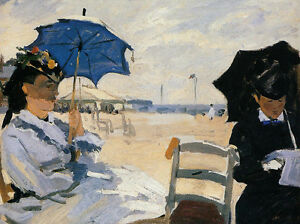 Details About Art Oil Painting Claude Monet The Beach At Trouville With Women Umbrella