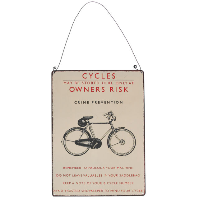 dotcomgiftshop VINTAGE STYLE BICYCLE METAL SIGN. CYCLES WALL DECORATION