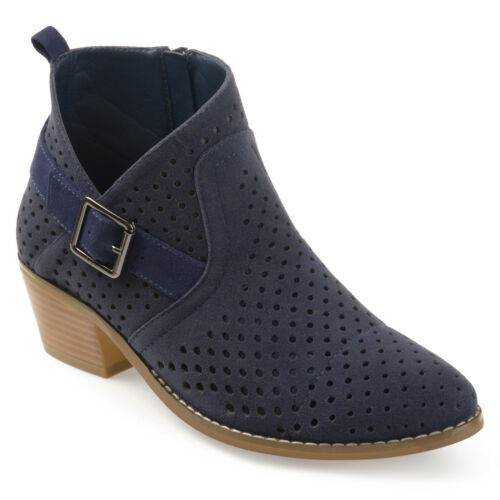 Brinley Co Womens Perforated Faux Suede Stacked Heel Ankle Booties New