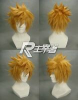 Kingdom Hearts Roxas Short Flip Out Golden Blonde Cosplay Wig+free wig cap