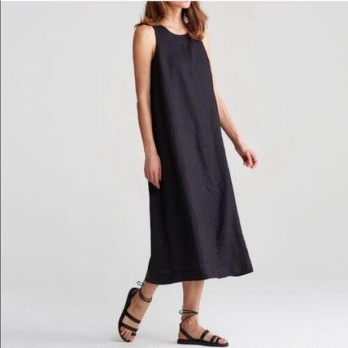 Eileen Fisher Black Sleeveless Linen Maxi Dress La