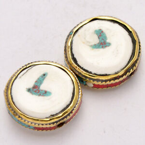 Conch-Shell-Brass-2-Beads-Flat-Coin-Shape-Tibetan-Nepalese-Ethnic-Nepal-AA287
