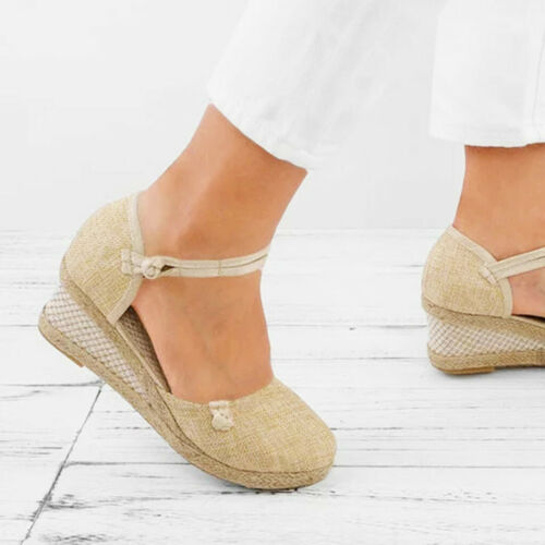 Women Summer Ladies Retro Canvas Wedge Round Toe Casual Sandals Singles Shoes