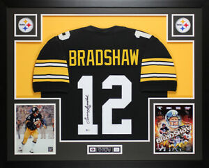 Details about Terry Bradshaw Autographed and Framed Black Steelers Jersey Auto Beckett COA