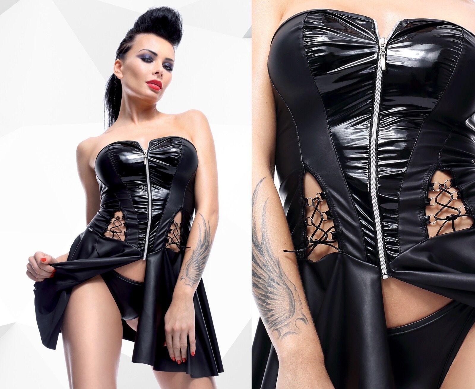 DEMONIQ RITA KLEID gothic schwarz schulterfrei wetlook clubwear lack pvc tunika