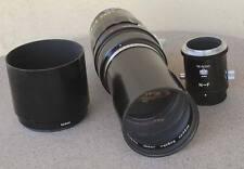 RARE Nikon Nikkor T 35cm F4.5 350mm lens w Hood N-F mount adapter RF