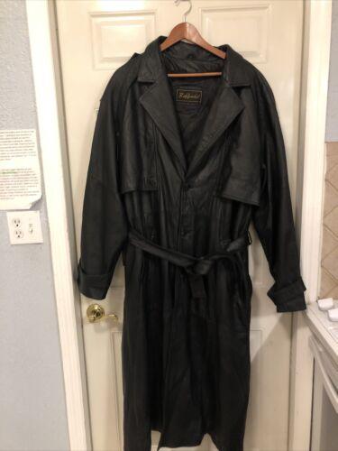 Black Leather Trenchcoat Men's XL Raffaelo With Zi