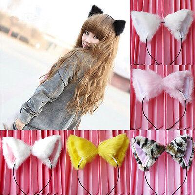 sale Girl's Cute Cat Fox Ears Long Fur Headband Anime Cosplay Party Costume New