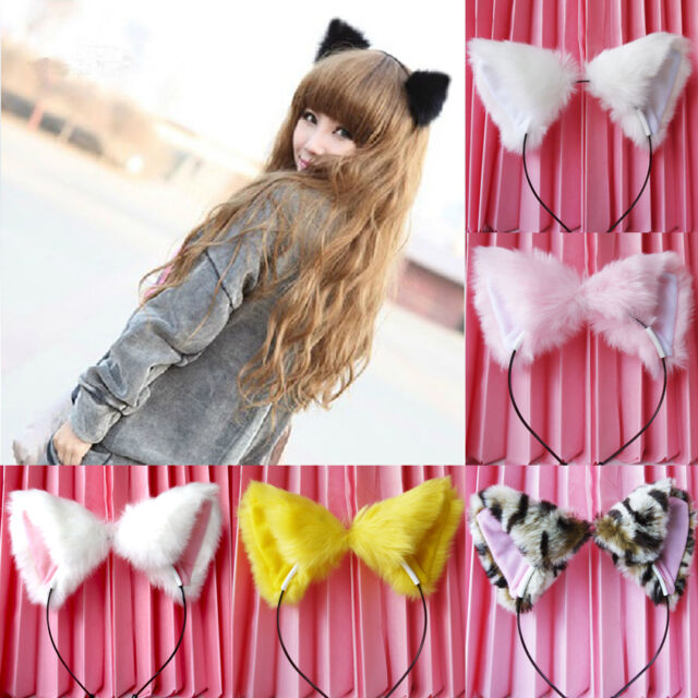 sale Girl's Cute Cat Fox Ears Long Fur Headband Anime Cosplay Party Costume New