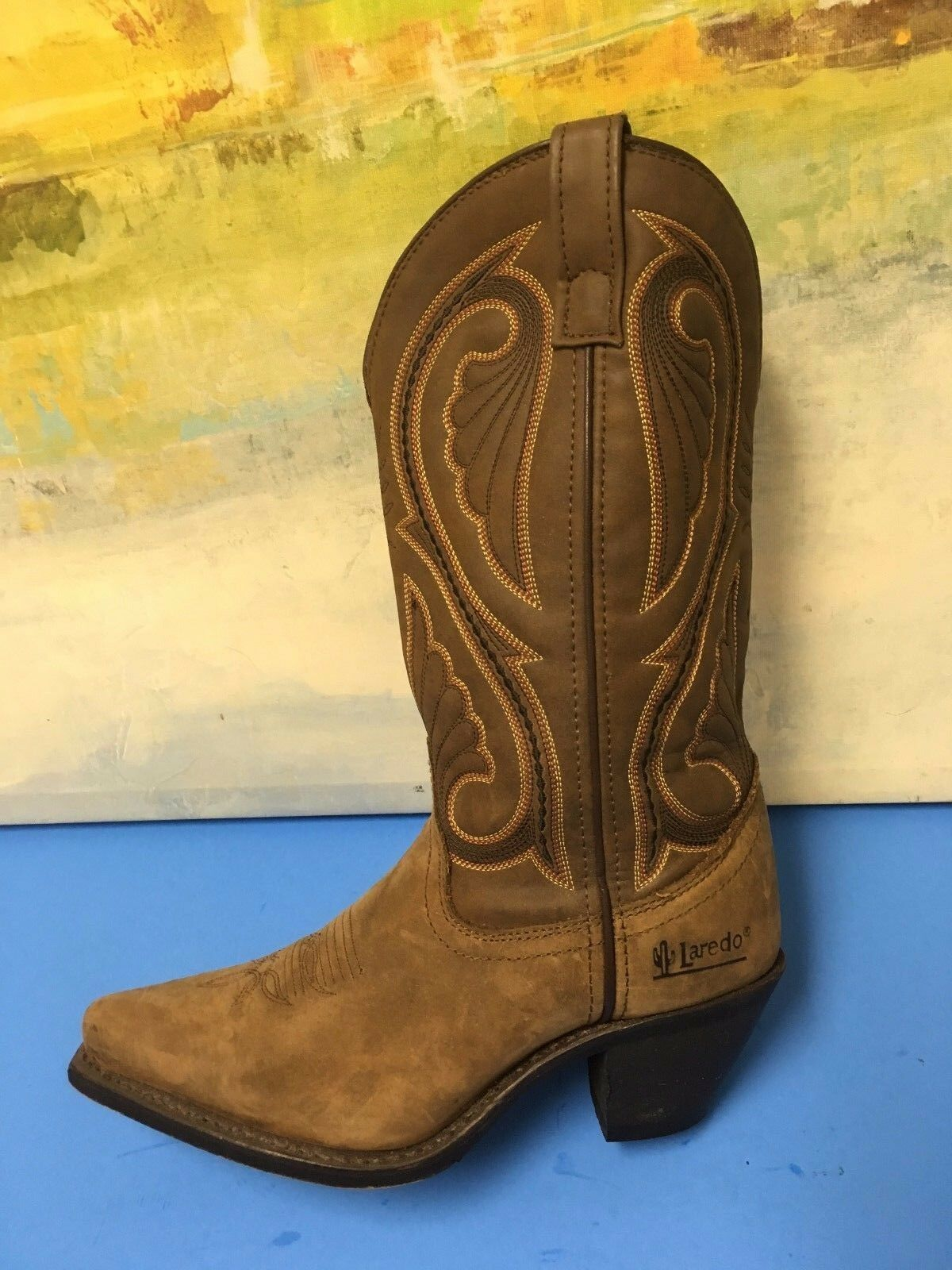 Laredo Ladies Brown Embroidered Cowgirl Boots 5732 Womens Size 6.5 M Beige Brown