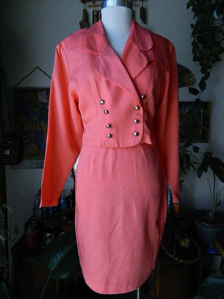 Womens Vintage Cropped 80's Blazer Skirt 2PC LA BELLE FASHION INC Salmon Pink M