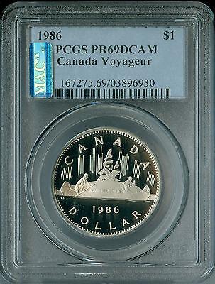 1986 CANADA $1 CLAD DOLLAR PCGS MAC PR69 UHCam  ULTRA HEAVY CAMEO SPOTLESS .
