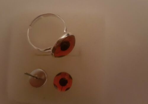 Ladybug Ohrringe Edelstahl 8mm mit Ladybug Ring versilbert nickelfrei