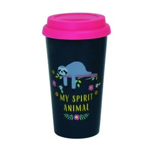 Sloth-Plastic-Travel-Mug-Cool-Fun-Animal-Zoo-Design-Coffee-Tea-Holiday-Trip