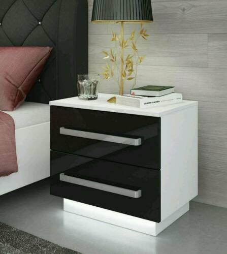 FREE LED High Gloss Nightstand Bedroom Furniture Bedside Cabinet Table