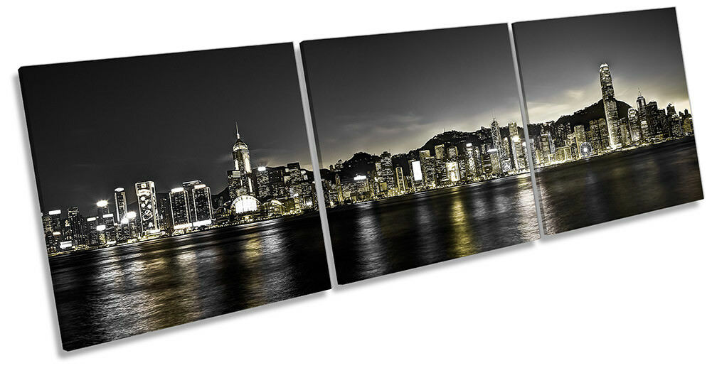 Victoria Harbour Hong Kong Framed CANVAS Drucken Triple Wand Kunst
