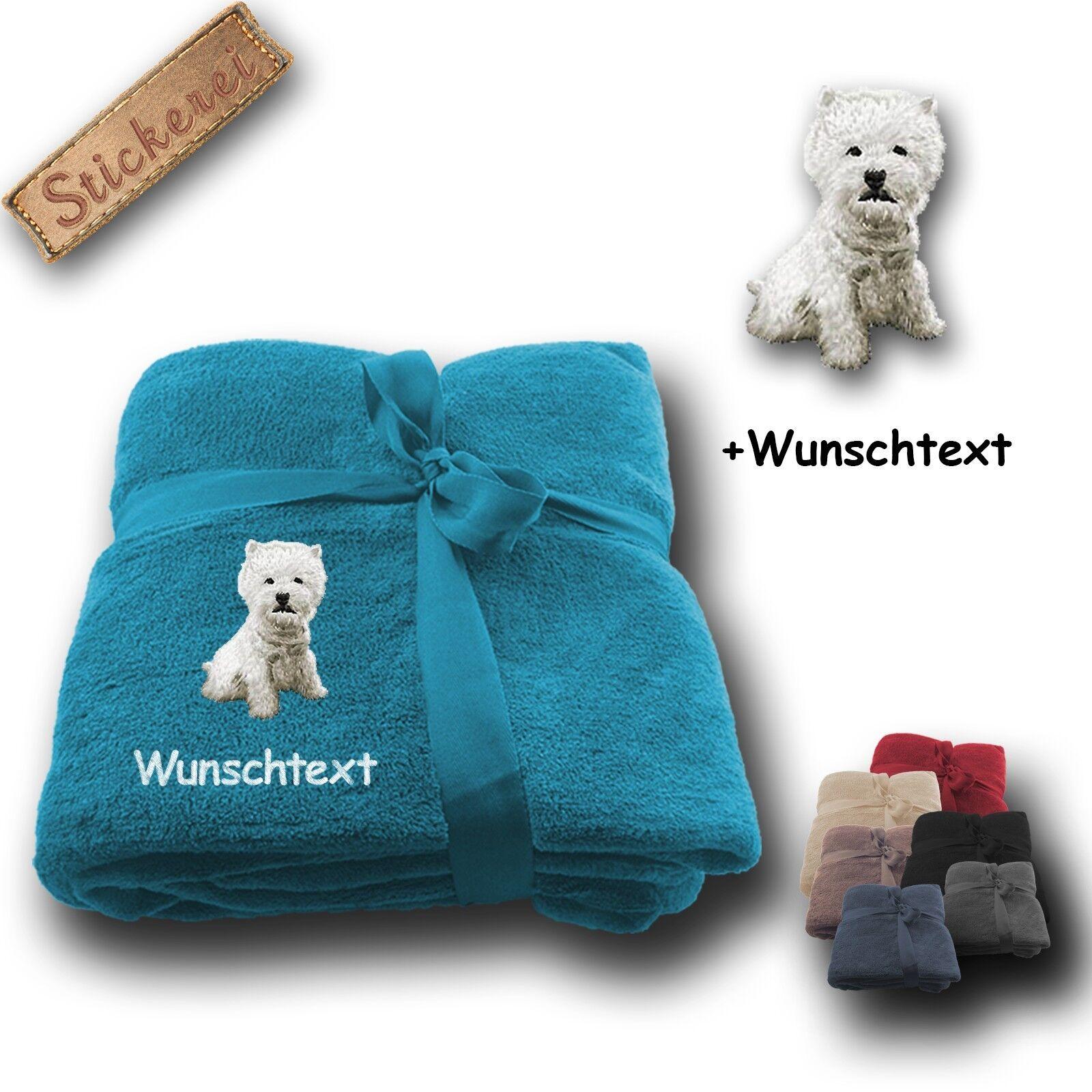 Coperta soffice coperta West Highland White Terrier  desiderio di testo, ricamo, 180x130cm