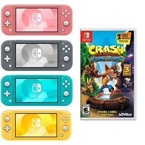 NEW Nintendo Switch Lite + Crash Bandicoot 3 GAMES - Turquoise Gray Yellow Coral