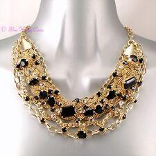 Catwalk Designer Black 14K Gold Plate Braided Mesh Statement Bib Collar Necklace
