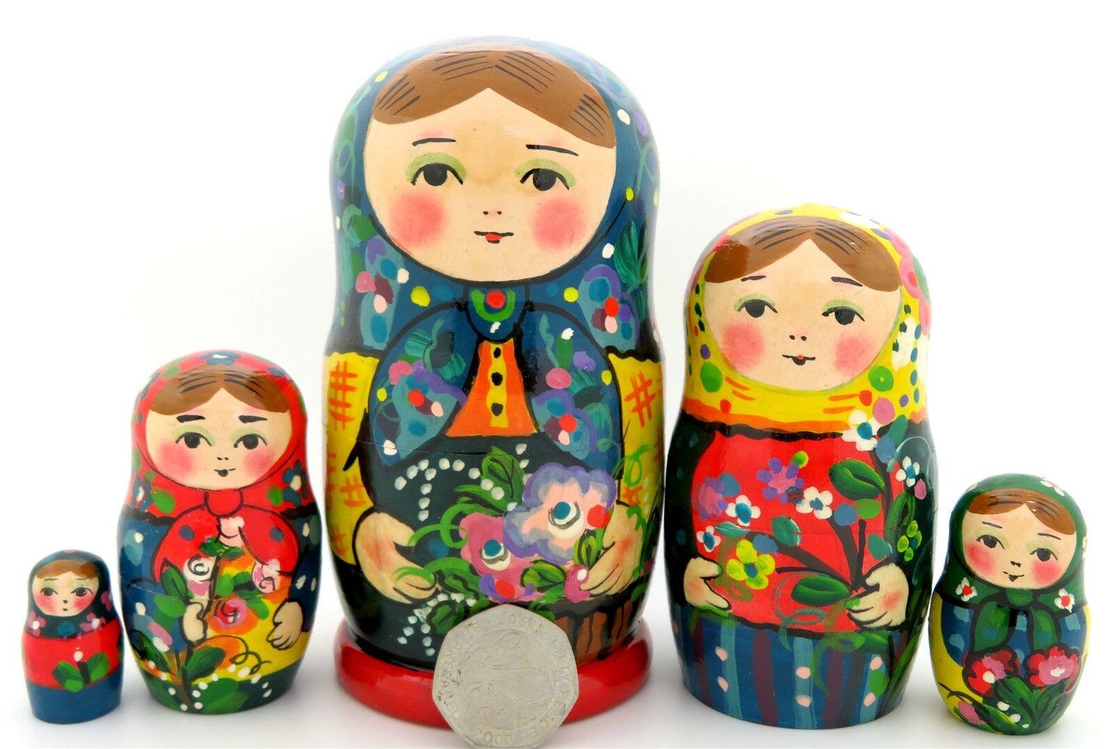 Muñecas-caja Rusas 5 Pintado a Mano Mate Babushka & Rowan Invierno Niñas Ryabova