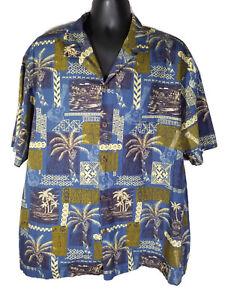 Royal-Creations-2XL-Hawaiian-Aloha-Shirt-Blue-Tropical-Ukulele-Palm-Trees