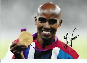 STUNNING MO FARAH SIGNED LONDON 2012 OLYMPIC GOLD MEDAL 12x8 GLOSSY PHOTO1