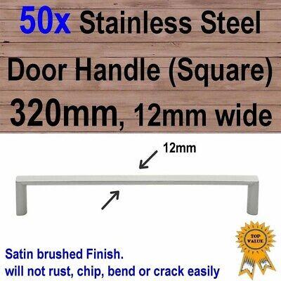 Stainless Steel 288mm 20mm square 50x Cabinet Cupboard Drawer Door Handles