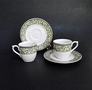 Turkish-Demitasse-Espresso-Cups-amp-Saucers-Porcelain-Gural-Porselen-Set-s-Leaves