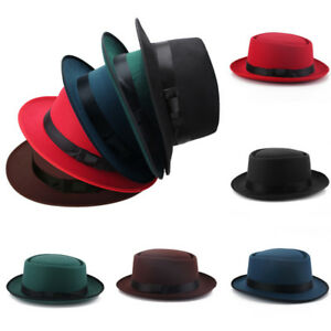 d9228b520ce3ea Men Women Wool Felt Round Fedora Cap Crushable Porkpie Vintage Short ...