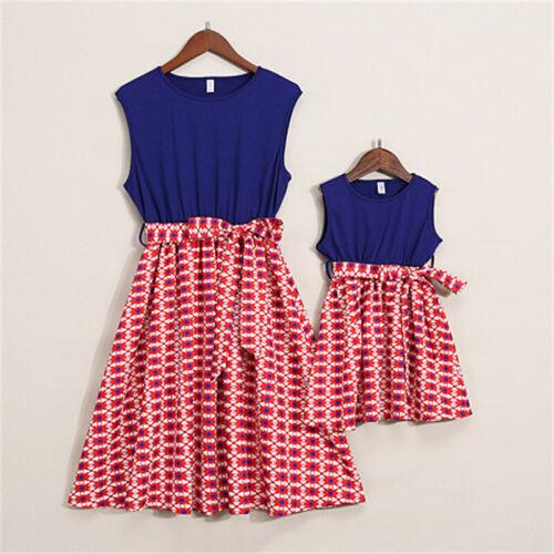 UK Mother Daughter Girls Summer Floral Maxi Dress Family Matching Dress Outfits