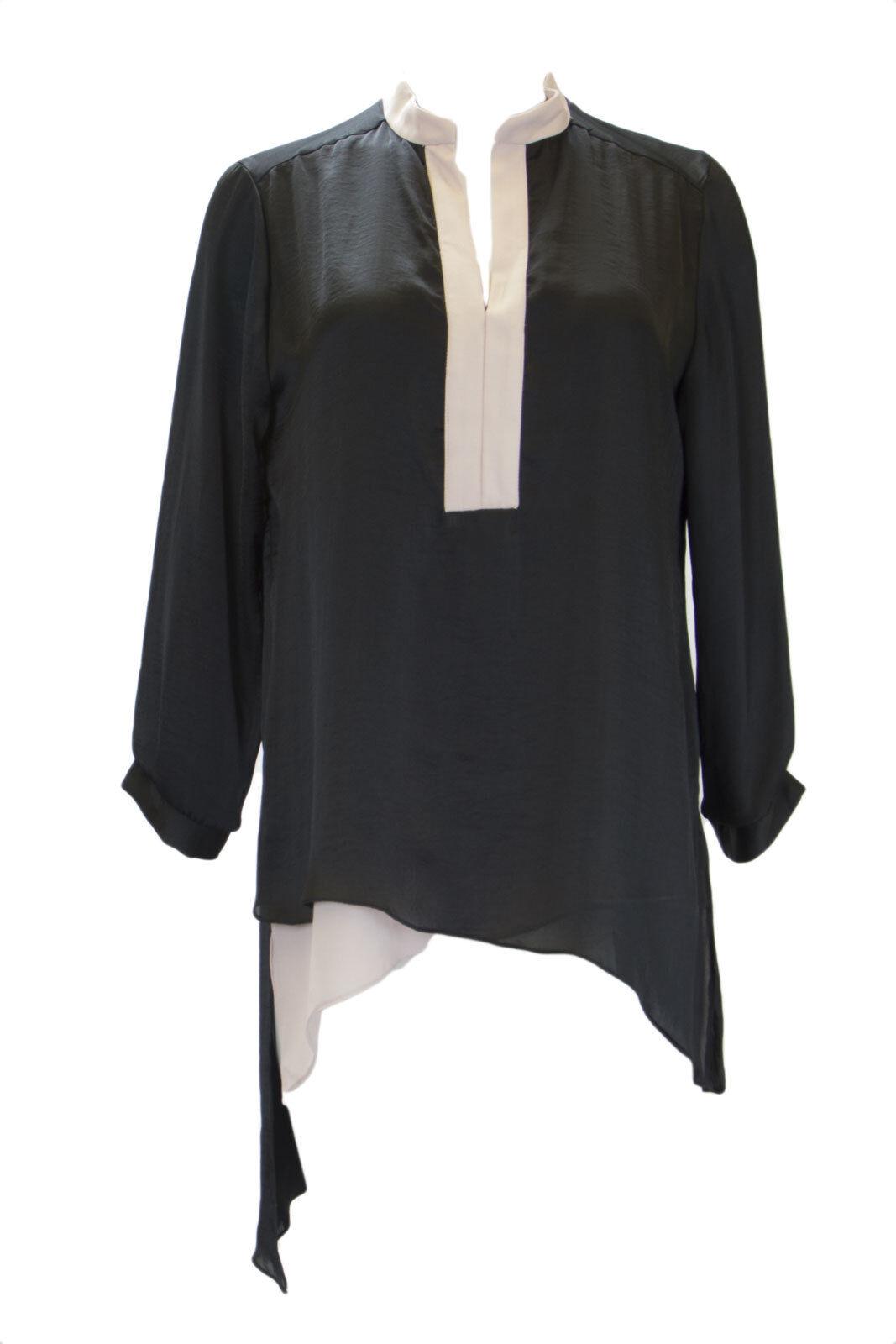 Atina Cristina Woherren schwarz Asymmetric Hem Layerot Blouse T3877CD17  NWT