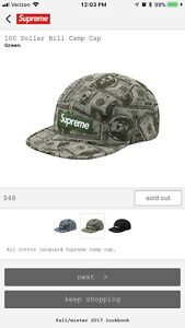 39c3bf1684cd8 FW17 Supreme 100 Dollar Bill Camp Cap Green Box Logo Hat confirmed ...