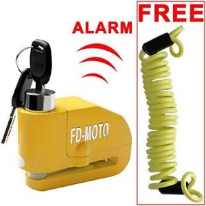 FD-MOTO LK603 Yellow Motorbike Alarm Disc Lock Motorcycle Bike Bicycle 110DB 7mm