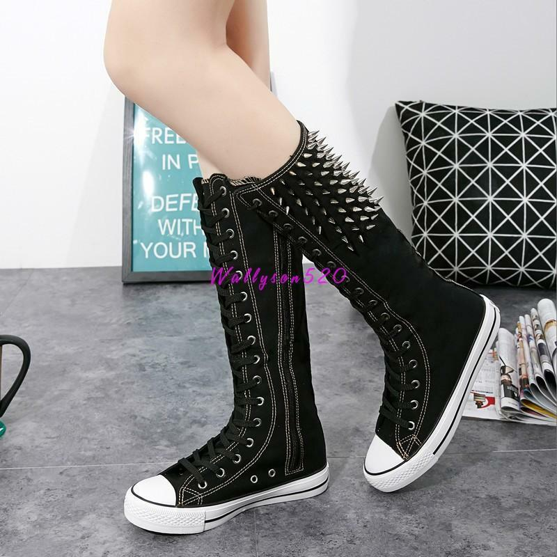 Womens lady Canvas Knee High Boots Flats shoes Rivet Spikes Zipper Lace shoes