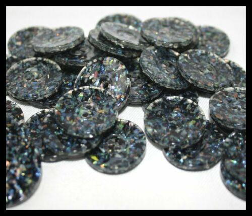 BLACK MULTI SPARKLE BUTTONS FOR CARDIS COATS JACKETS SIZE 22mm