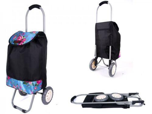 2 roues pliable shopping trolley festival polka imprimé floral à roues sac de voyage